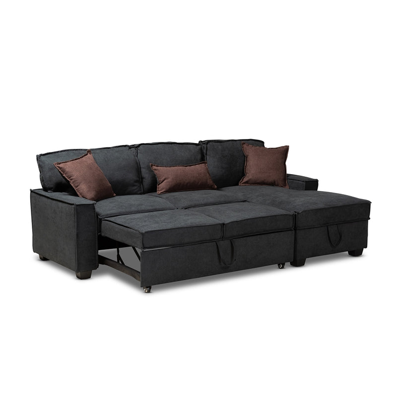 Aiden Modern Dark Grey Fabric Right Facing Storage Sectional Sofa With Pull-Out Bed - living-essentials