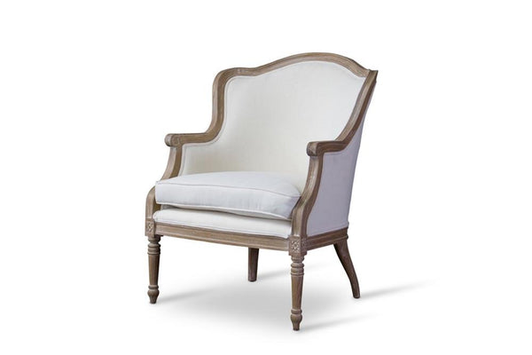 Cael Traditional Oak French Accent Chair - living-essentials