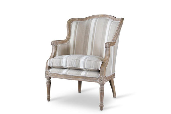 Cael Brown Stripe Traditional French Accent Chair - living-essentials