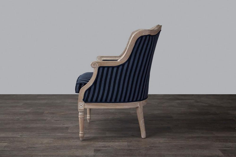 Cael Black and Grey Striped Traditional French Accent Chair - living-essentials