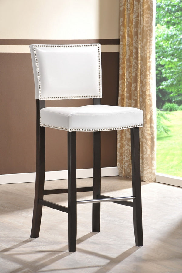 Bronwyn White Modern Bar Stool With Nail Head Trim (Set of 2) - living-essentials