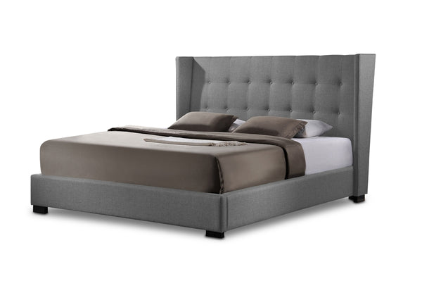 Fabian King Modern Bed With Upholstered Headboard - living-essentials