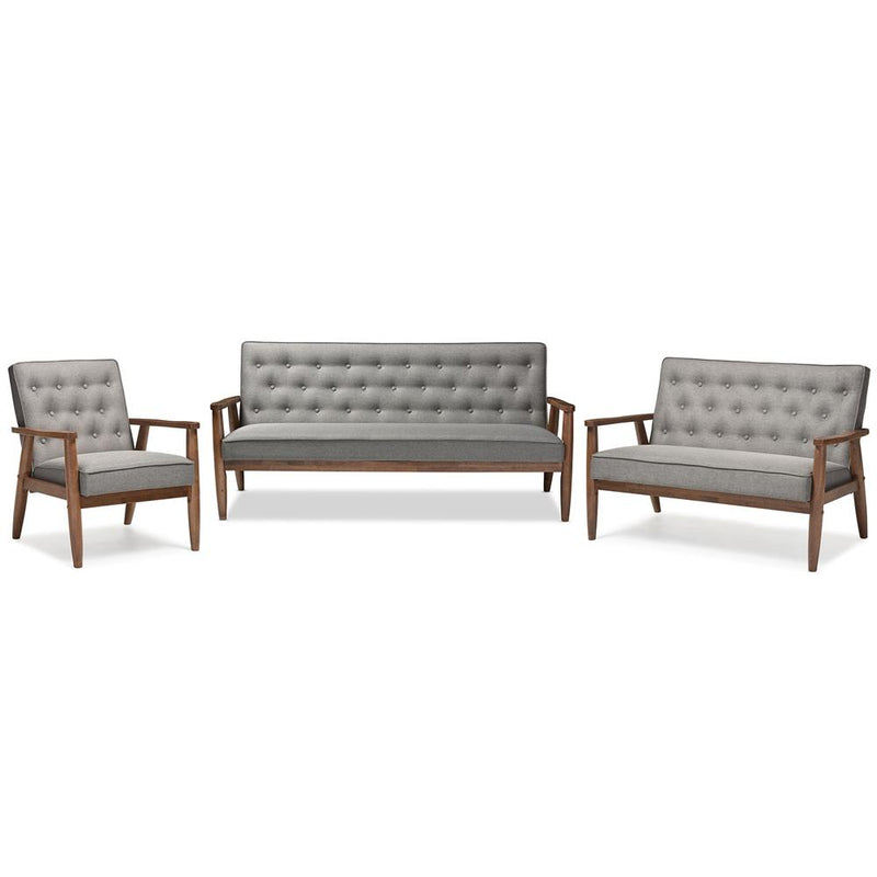 Stephen Mid-Century Fabric Upholstered Wooden 3 Piece Living Room Set - living-essentials