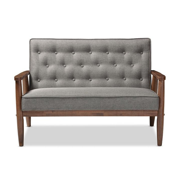 Valtarra Mid-Century Retro Modern Grey Fabric Upholstered Wooden 2-Seater Loveseat