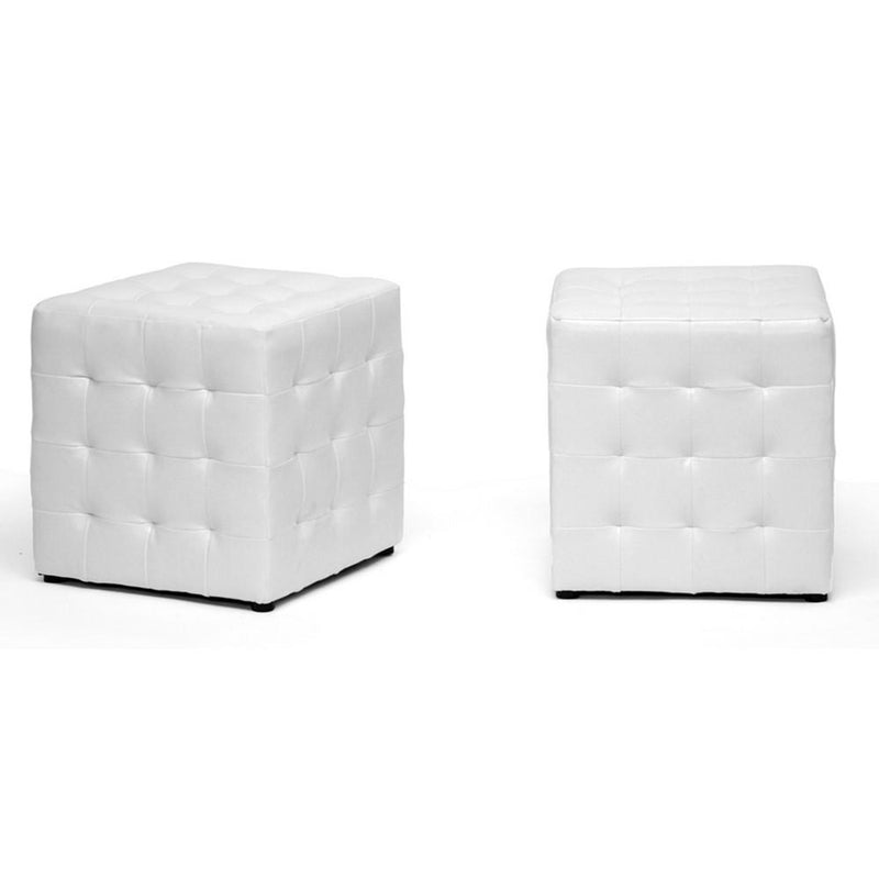 Sorrel White Modern Cube Ottoman (Set of 2) - living-essentials