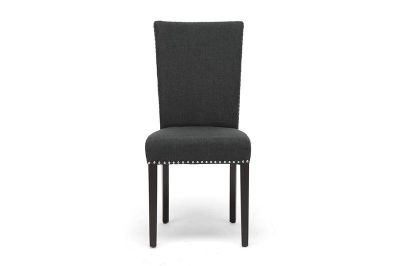 Zoha Dark Gray Linen Modern Dining Chair (Set of 2) - living-essentials