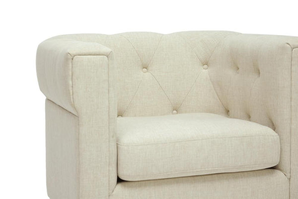 Cardell Beige Modern Chesterfield Armchair - living-essentials