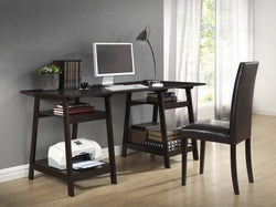 Jason Dark Brown Sawhorse Legs Office Desk - living-essentials