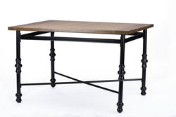 Brandon Light Brown Wood & Metal Dining Table - living-essentials