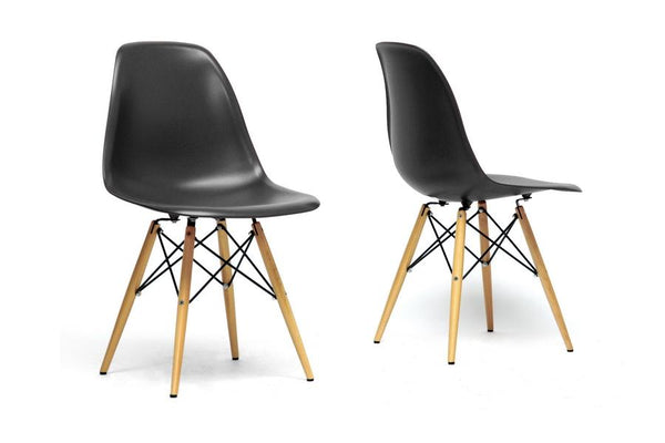 Shasha Black Plastic Mid-Century Modern Shell Chair (Set of 2)