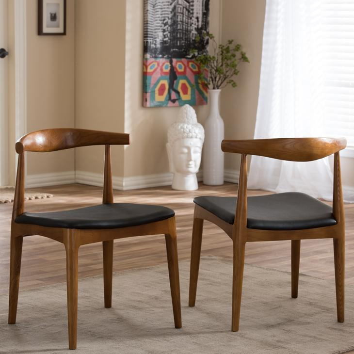 Crescent Solid Wood Mid-Century Style Accent Chair Dining Chair Set of 2