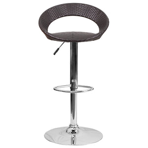 Wayne Wicker Round Back Adjustable Height Bar Stool Stools Free Shipping