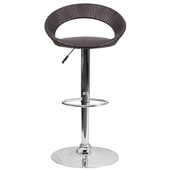 Wayne Wicker Round Back Adjustable Height Bar Stool - living-essentials