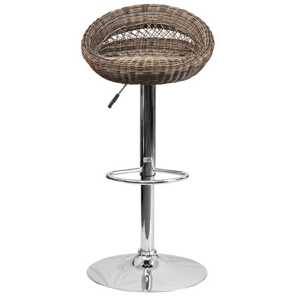 Watson Wicker Rounded Back Adjustable Height Barstool - living-essentials
