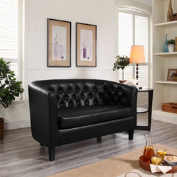 Derbyshire Prospect Upholstered Vinyl Loveseat - living-essentials