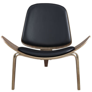 Hans J. Wegner Style Vinyl Shell Chair Walnut / Black Chairs Free Shipping