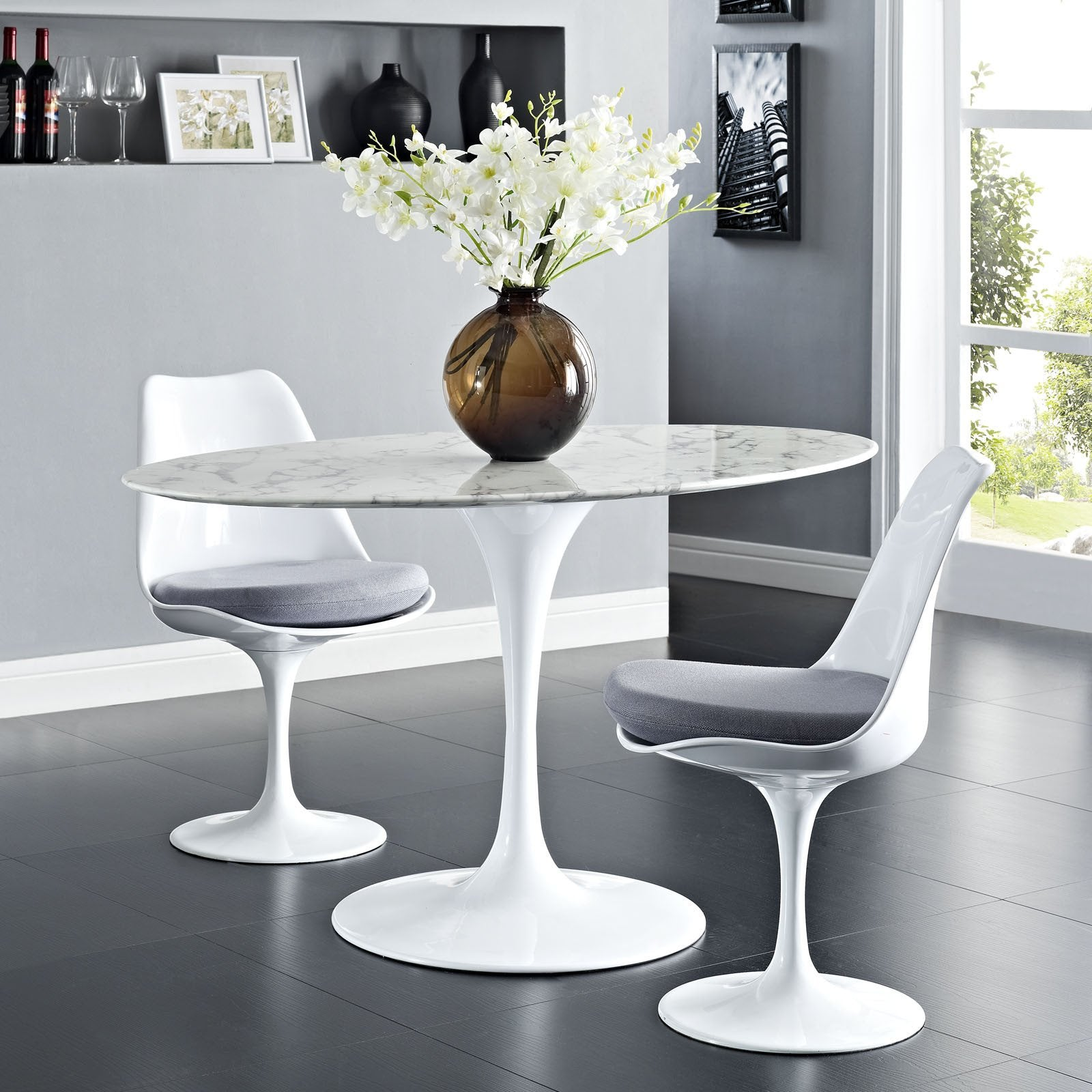 Oval marble dining table - Tulip Style 54 Oval Marble Dining Table 54 Emfurn 1