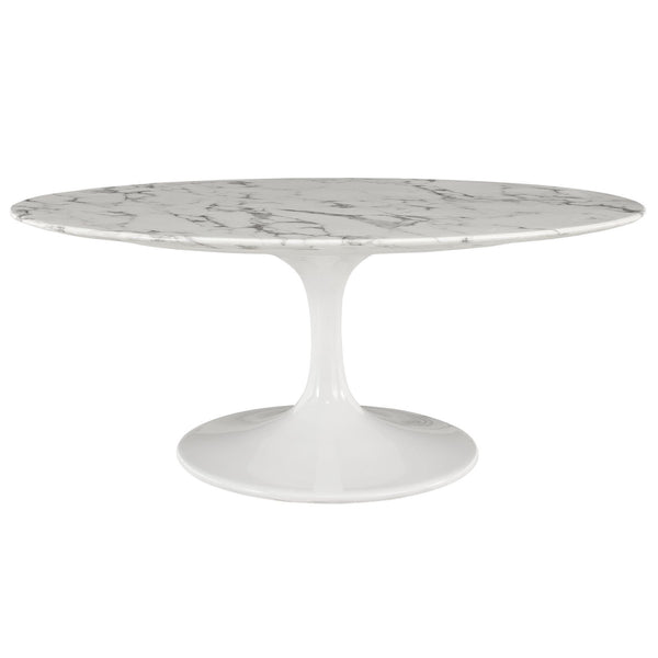"Tulip Style 42"" Oval Marble Coffee Table - living-essentials"