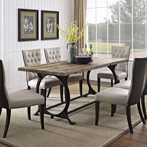 Diffuse Wood Top Cast Iron Dining Table - living-essentials