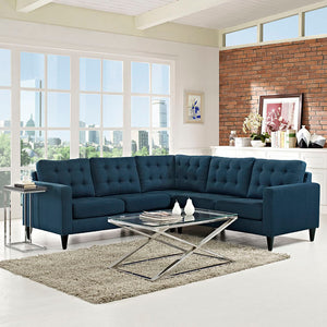 Empire 3Pc. Sectional Sofa Azure Free Shipping