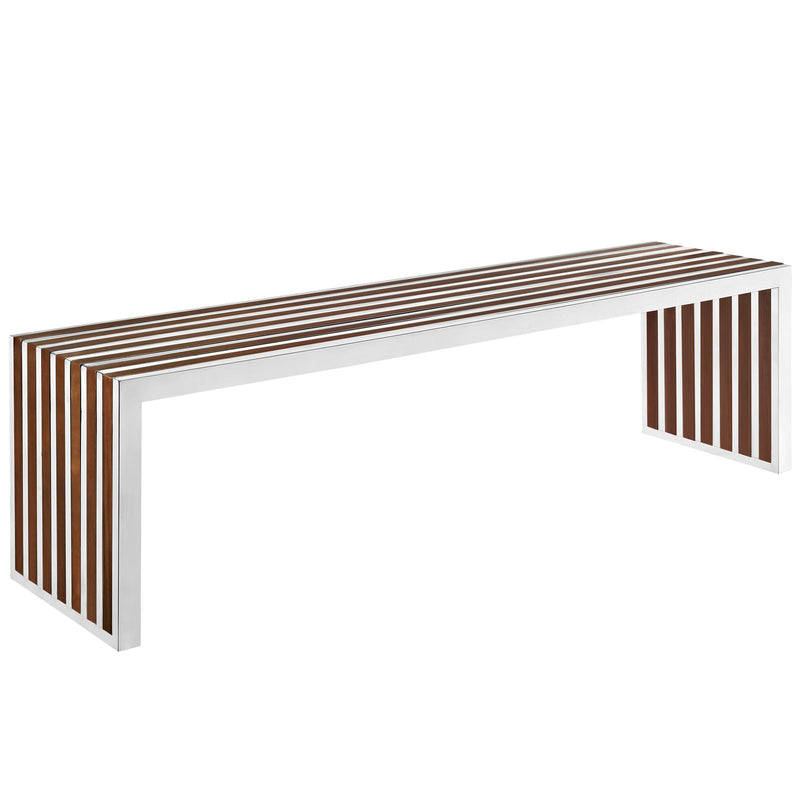 Platform Large Wood Inlay Bench - living-essentials