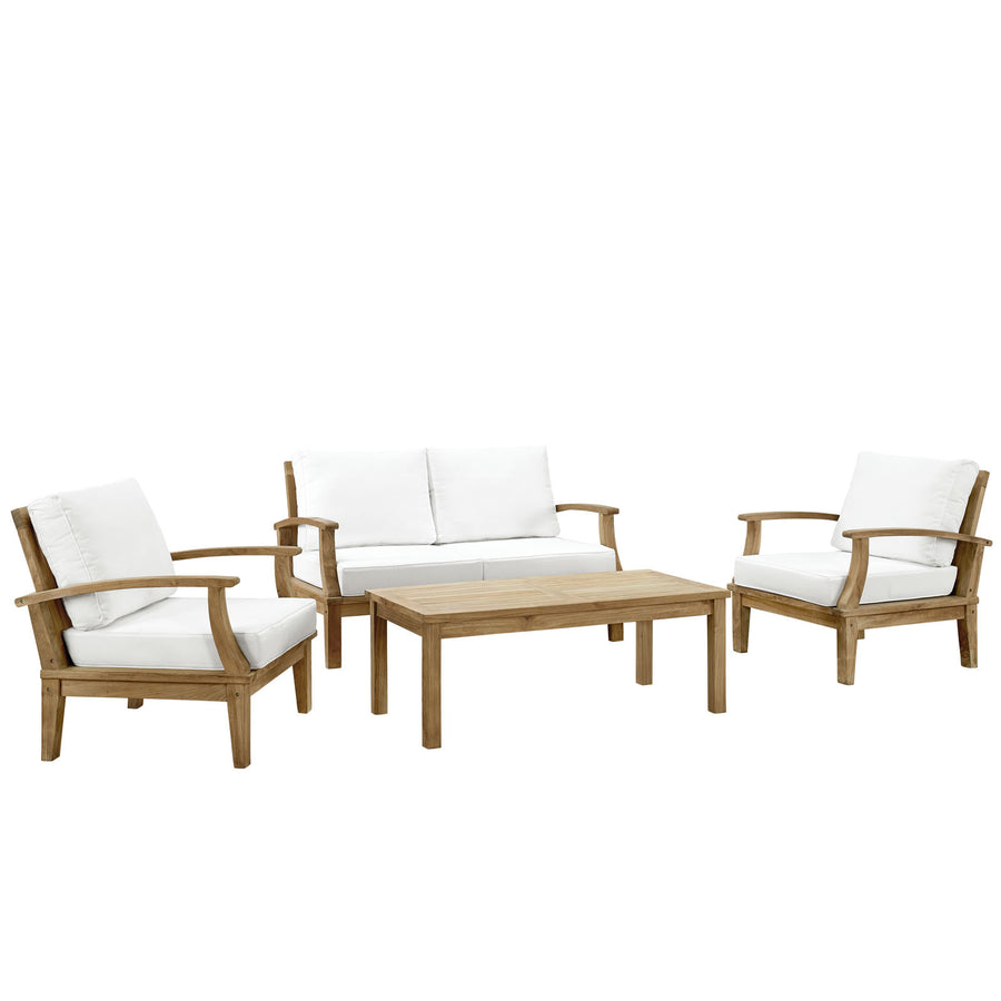 Marine 4 Piece Outdoor Patio Teak Loveseat Set Natural White Furniture Free Shipping