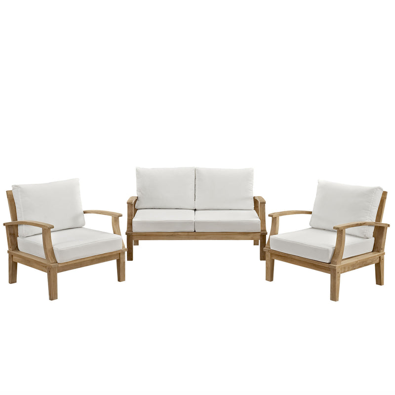 Marine 3 Piece Outdoor Patio Teak Loveseat Set - living-essentials