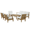 Marine 8 Piece Outdoor Patio Teak Sofa Set With Table Furniture Free Shipping