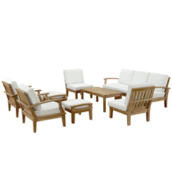 Marine 10 Piece Outdoor Patio Teak Sofa Set - living-essentials