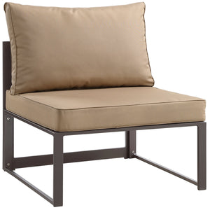 Alfresco Outdoor Patio Armless Chair Brown Mocha Chairs Free Shipping