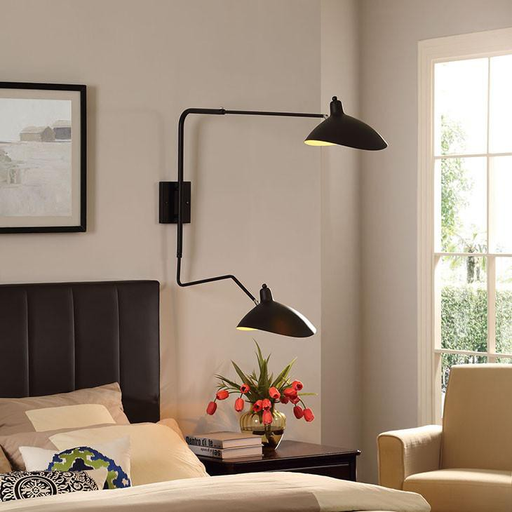 Serge Mouille Style Two Arm Rotating Wall Lamp - living-essentials