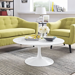 "Tulip Style 36"" White Coffee Table - living-essentials"
