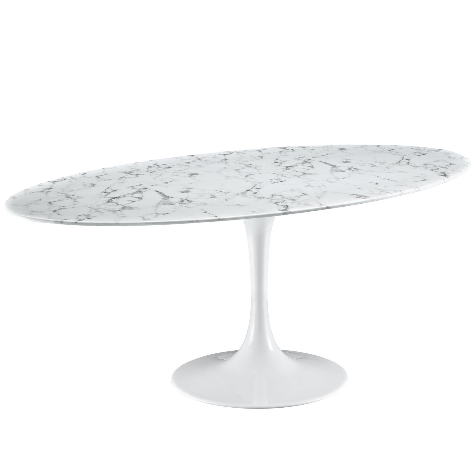 Saarinen Style  Tulip Oval Artificial Marble Dining Table EMFURN - Oval marble dining table