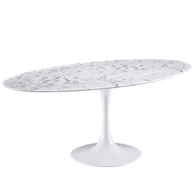"Tulip Style 78"" Oval Marble Dining Table - living-essentials"