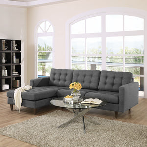 Empire Left-Arm Fabric Sectional Sofa Gray Free Shipping