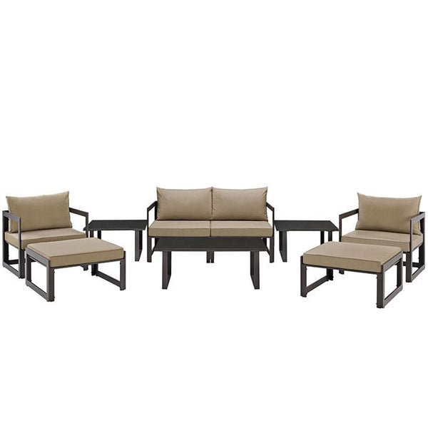 Alfresco 9 Piece Outdoor Patio Loveseat Set - living-essentials