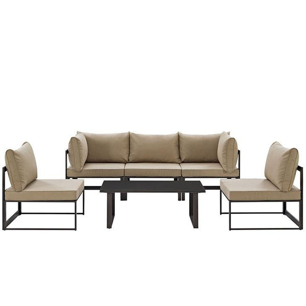 Alfresco 6 Piece Outdoor Patio Sectional Sofa Set - living-essentials