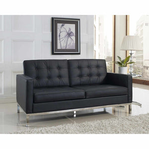 Knoll Style Leather Loveseat Black Loveseats Free Shipping