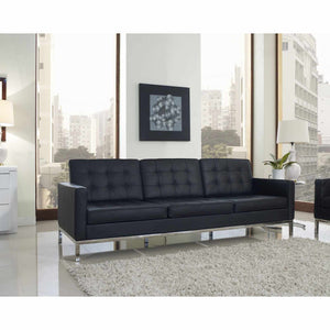 Florence Knoll Style Leather Sofa Black Sofas Free Shipping