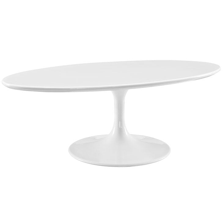 "Tulip Style 48"" Oval Shaped White Coffee Table - living-essentials"