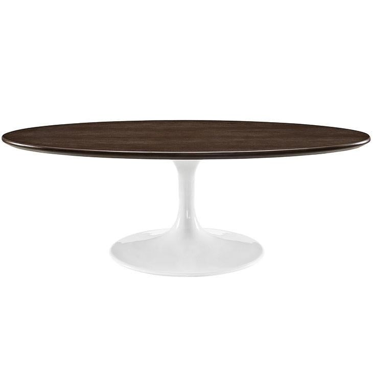 "Tulip Style 48"" Oval Shaped Walnut Coffee Table - living-essentials"
