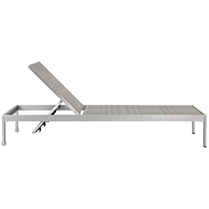 Wharf Silver Gray Outdoor Patio Aluminum Chaise Lounge - living-essentials
