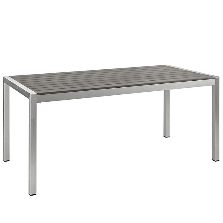 Wharf Silver Gray Outdoor Patio Aluminum Dining Table - living-essentials