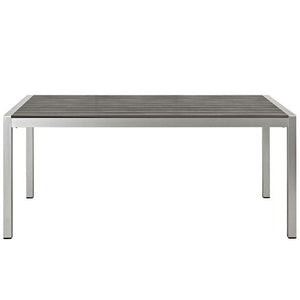 Wharf Silver Gray Outdoor Patio Aluminum Dining Table Free Shipping