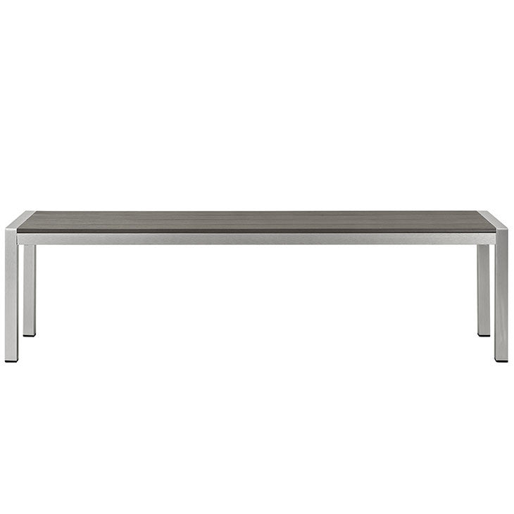 Wharf Silver Gray Outdoor Patio Aluminum Bench - living-essentials