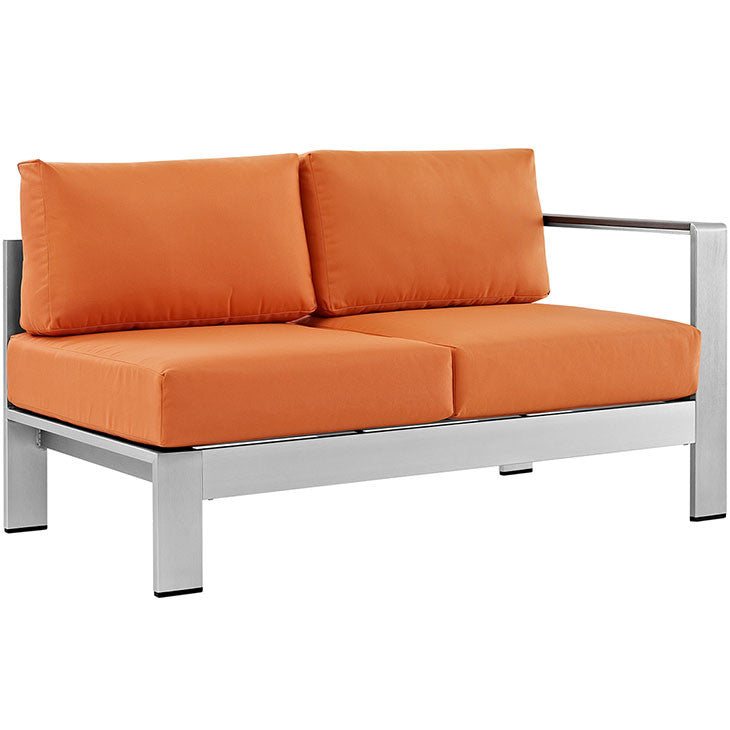 Wharf Right-Arm Sectional Outdoor Patio Aluminum Loveseat - living-essentials