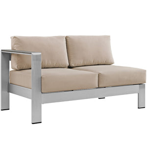 Wharf Outdoor Aluminum Left-Arm Loveseat Silver Beige Sofas Free Shipping