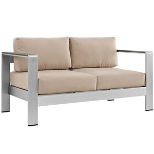 Wharf Outdoor Aluminum Loveseat Silver Beige Sofas Free Shipping