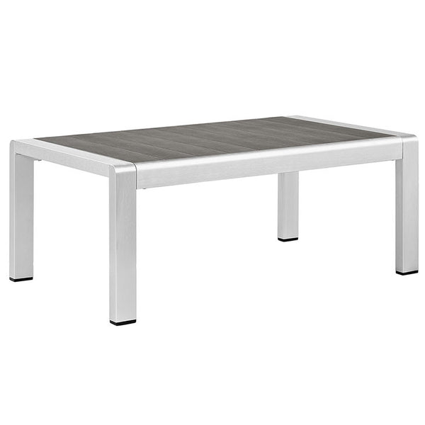 Wharf Silver Gray Outdoor Patio Aluminum Coffee Table - living-essentials