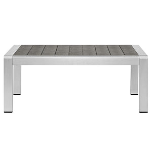 Wharf Silver Gray Outdoor Patio Aluminum Coffee Table Free Shipping